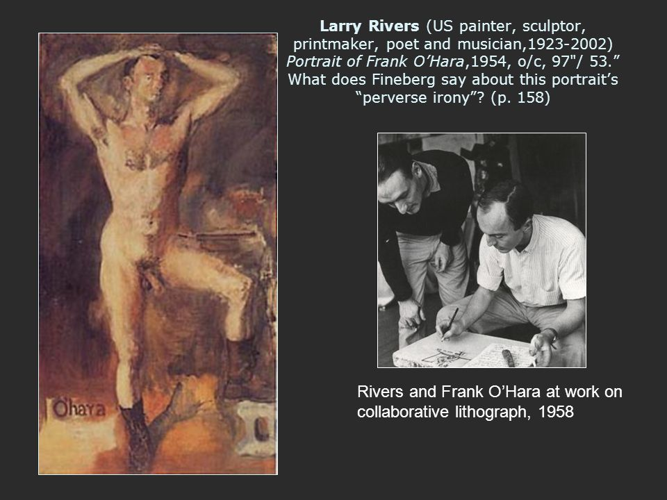 Rivers and Frank O'Hara at work on collaborative lithograph, 1958