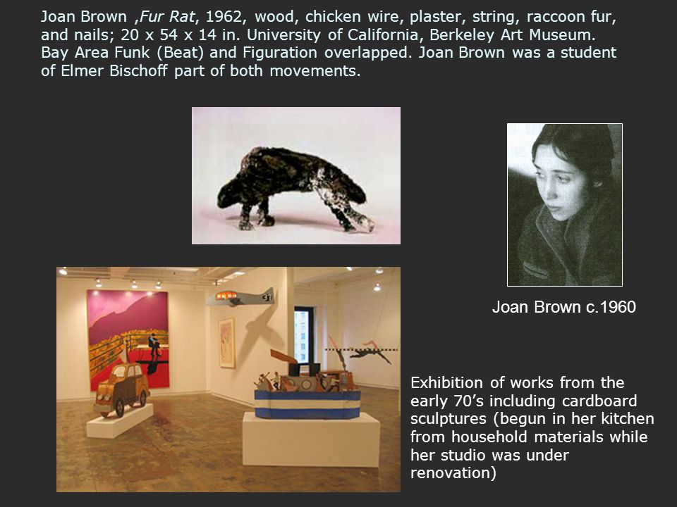 Joan Brown ,Fur Rat, 1962, wood, chicken wire, plaster, string, raccoon fur, and nails; 20 x 54 x 14 in. University of California, Berkeley Art Museum. Bay Area Funk (Beat) and Figuration overlapped. Joan Brown was a student of Elmer Bischoff part of both movements.