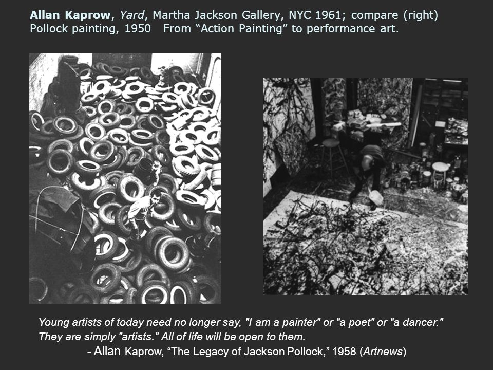 - Allan Kaprow, The Legacy of Jackson Pollock, 1958 (Artnews)