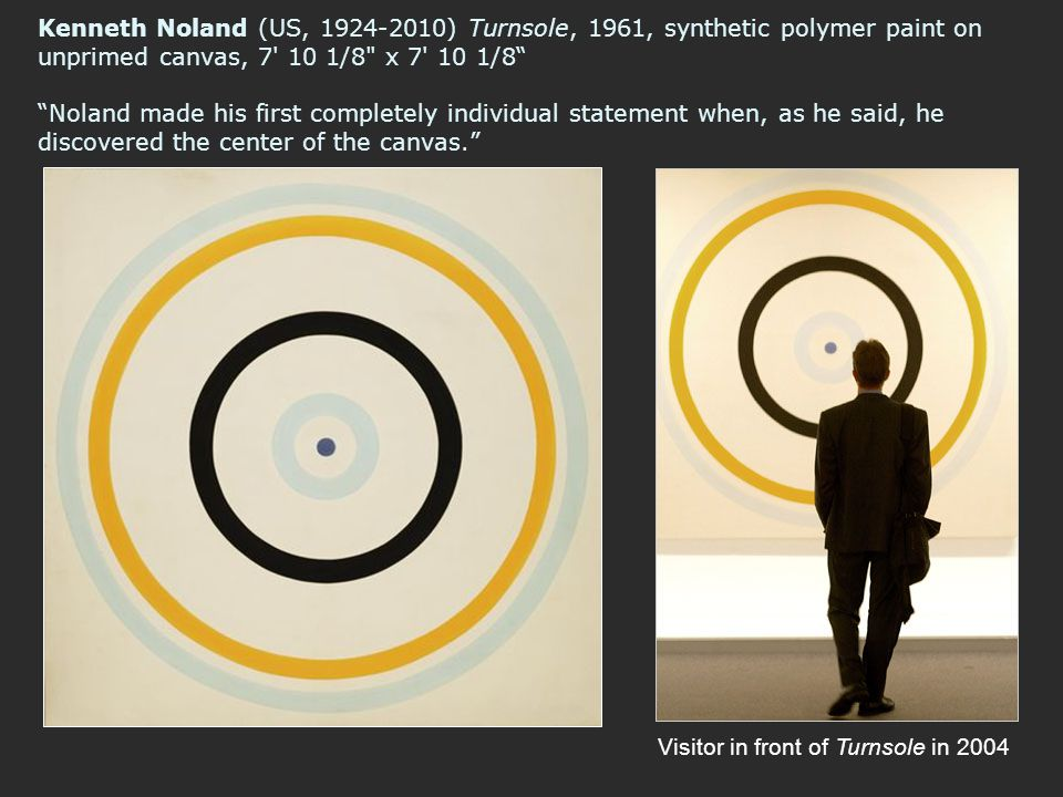 Kenneth Noland (US, 1924-2010) Turnsole, 1961, synthetic polymer paint on unprimed canvas, 7 10 1/8 x 7 10 1/8 Noland made his first completely individual statement when, as he said, he discovered the center of the canvas.