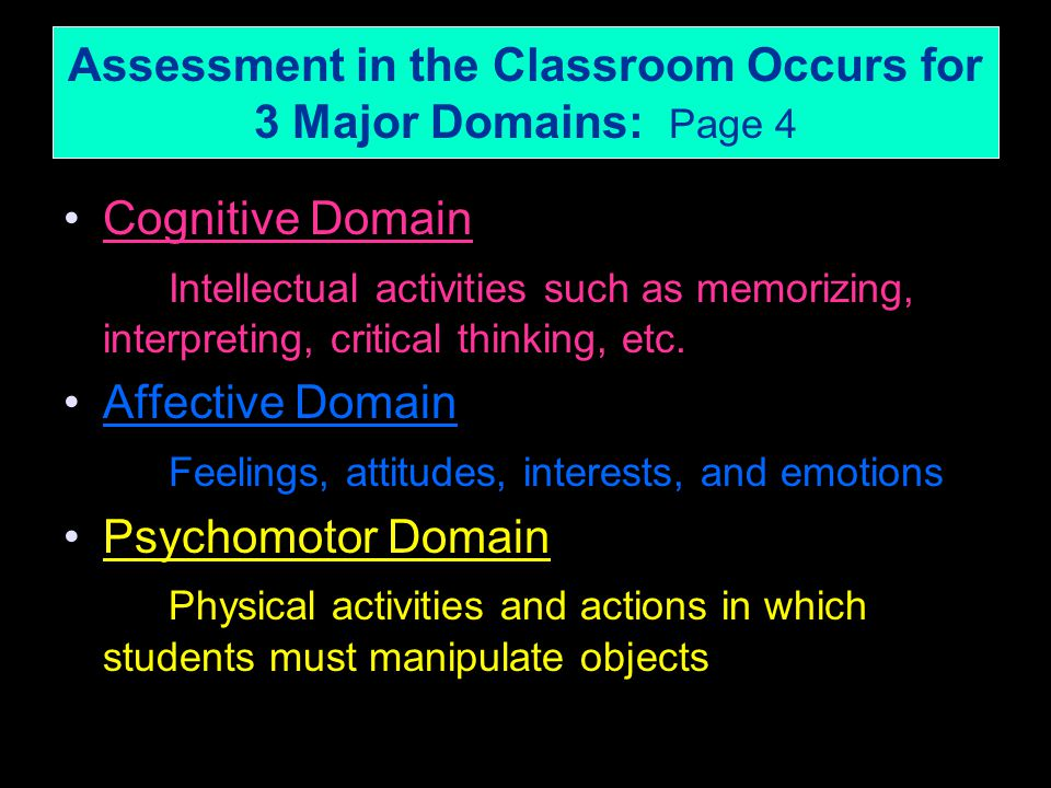 Assessment in the Classroom Occurs for 3 Major Domains: Page 4