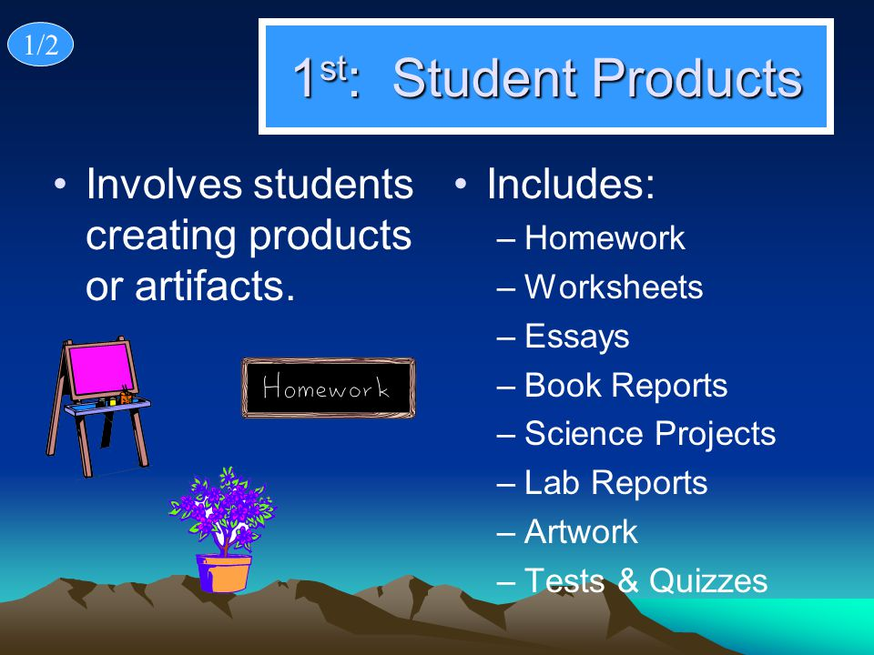 1/2 1st: Student Products. Involves students creating products or artifacts. Includes: Homework.
