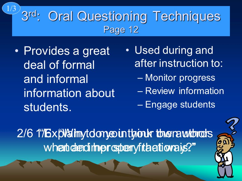 3rd: Oral Questioning Techniques Page 12
