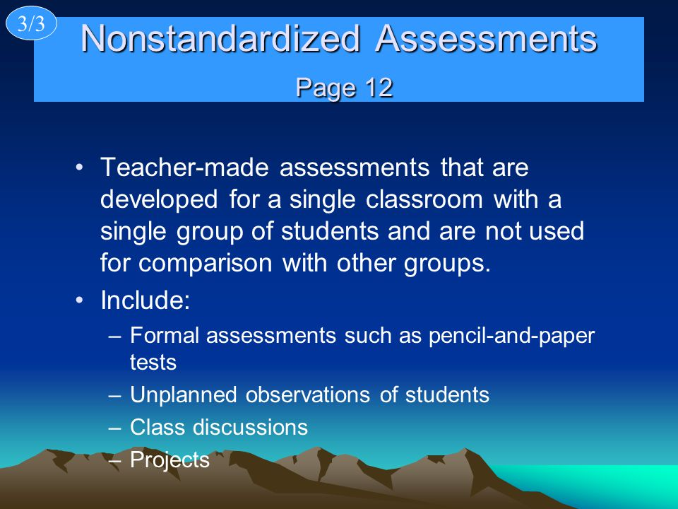 Nonstandardized Assessments Page 12