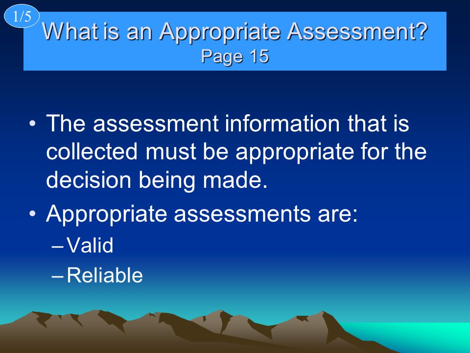 What is an Appropriate Assessment Page 15
