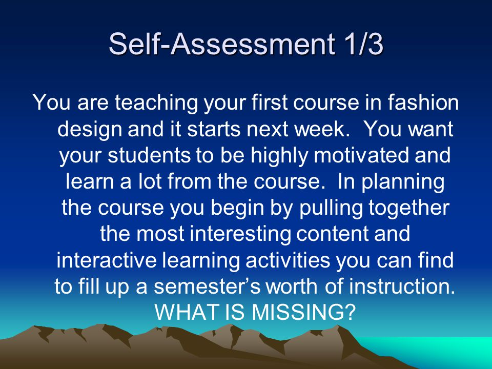 Self-Assessment 1/3