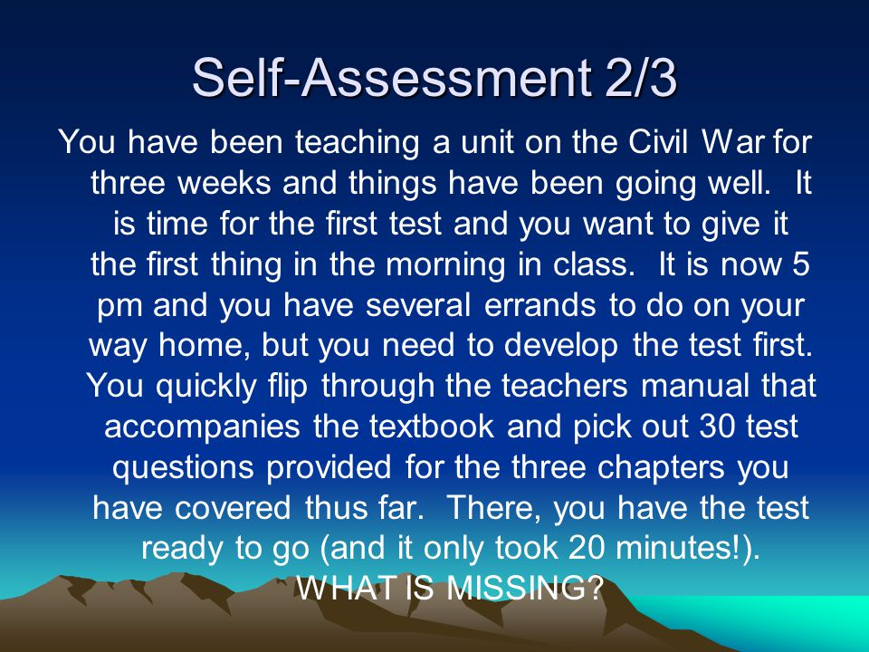 Self-Assessment 2/3