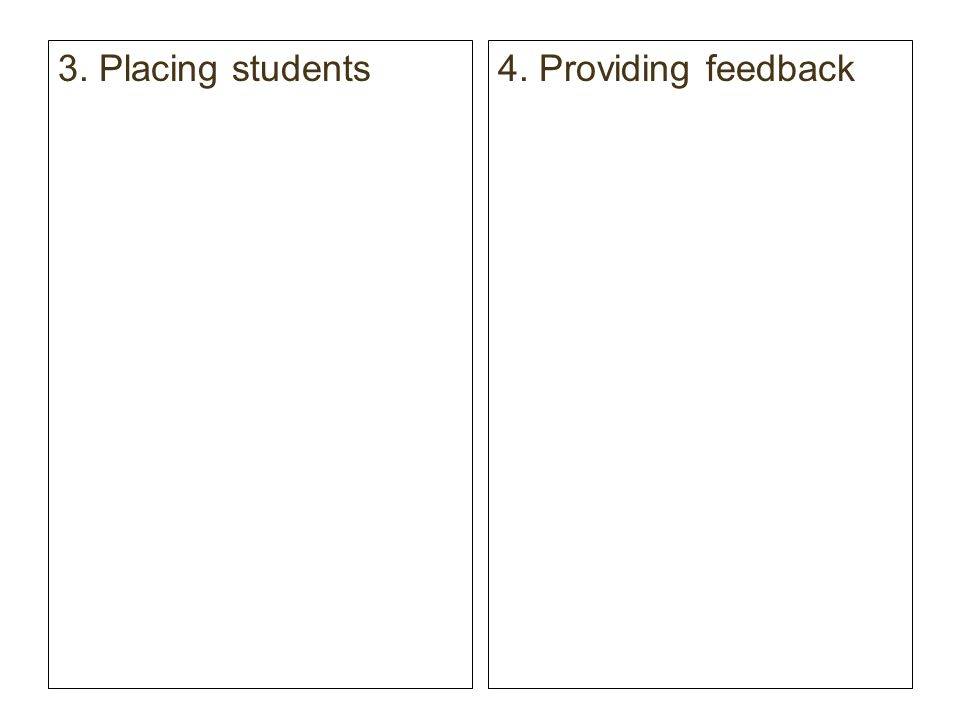 3. Placing students 4. Providing feedback