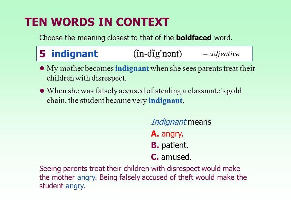 TEN WORDS IN CONTEXT 5 indignant – adjective