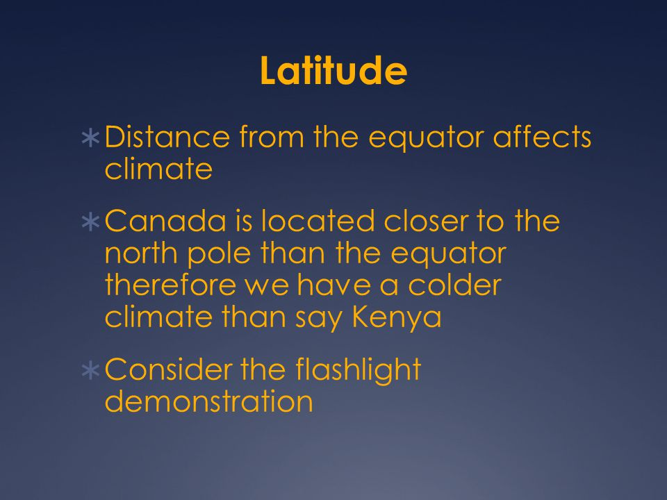 Latitude Distance from the equator affects climate