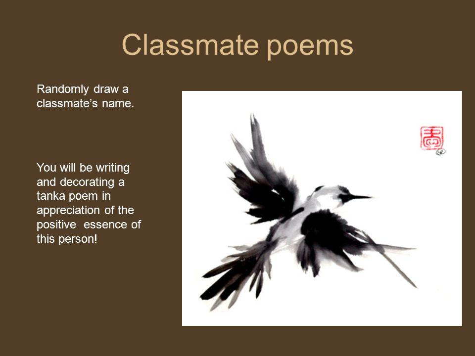 Classmate poems Randomly draw a classmate's name.