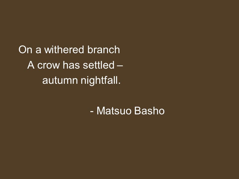 On a withered branch A crow has settled – autumn nightfall. - Matsuo Basho