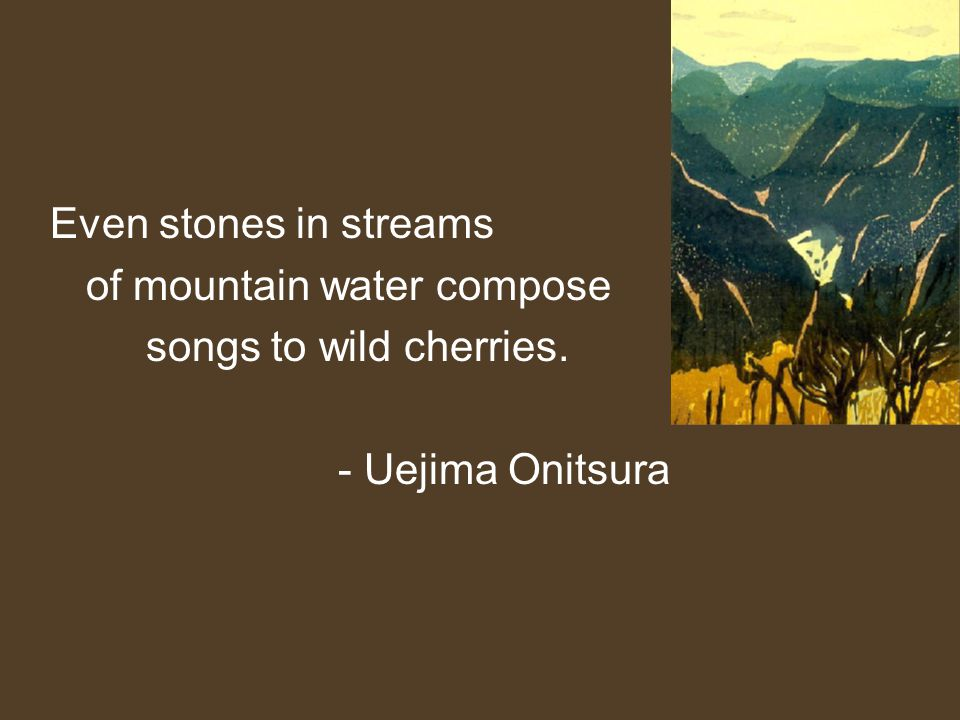 Even stones in streams of mountain water compose songs to wild cherries. - Uejima Onitsura