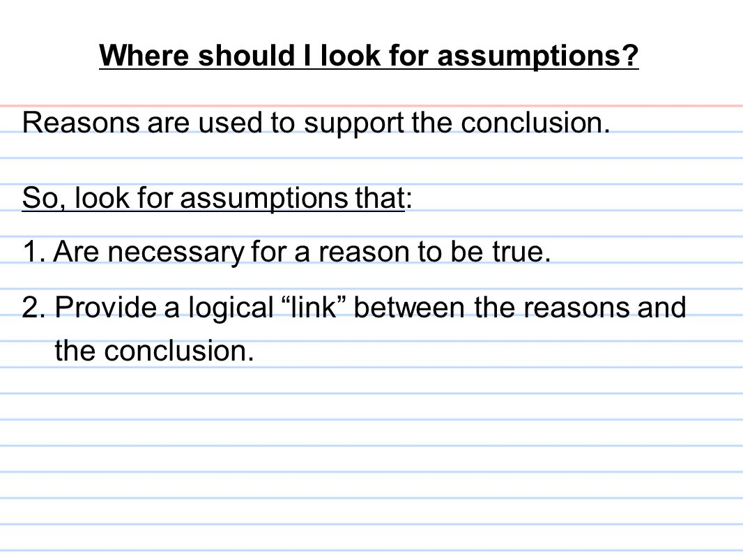 Where should I look for assumptions