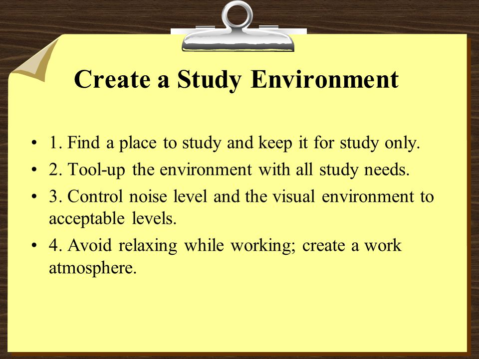 how to create a study environment