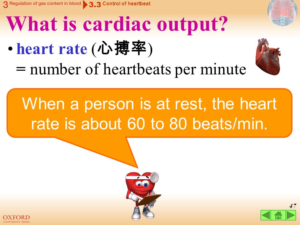 When a person is at rest, the heart rate is about 60 to 80 beats/min.