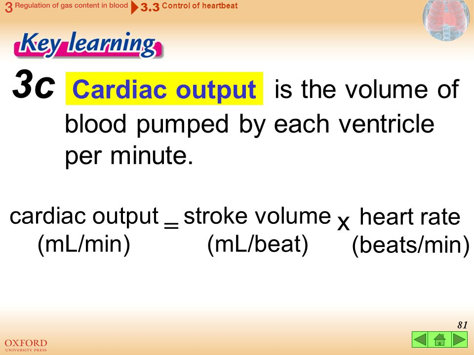 c is the volume of blood pumped by each ventricle per minute.