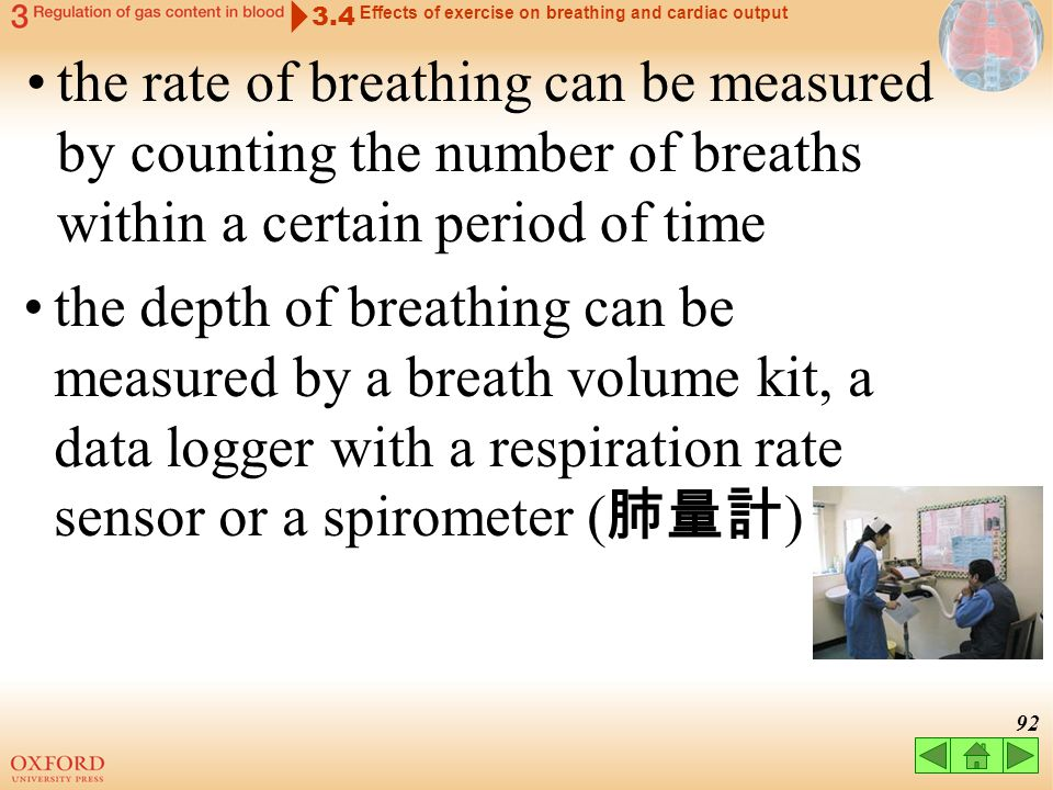 3.4 Effects of exercise on breathing and cardiac output.
