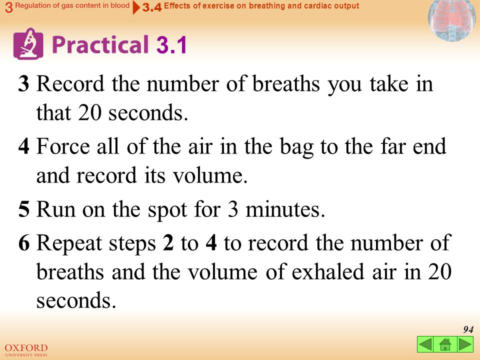 3 Record the number of breaths you take in that 20 seconds.