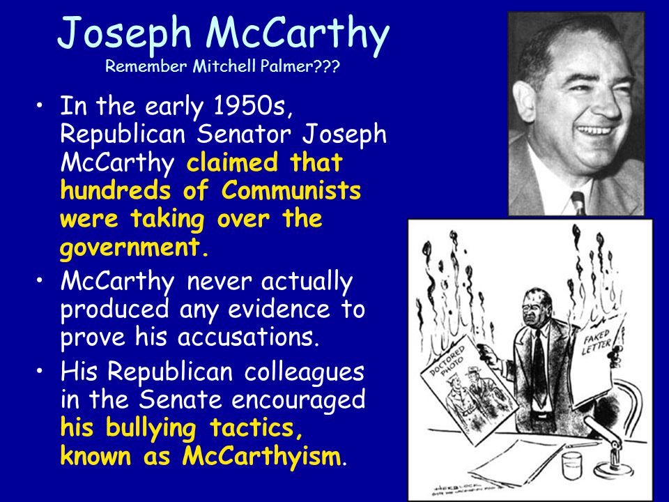 Joseph McCarthy Remember Mitchell Palmer