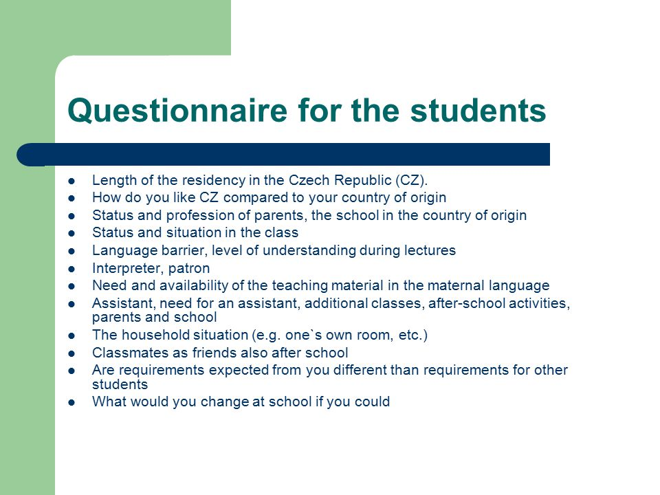 Questionnaire for the students