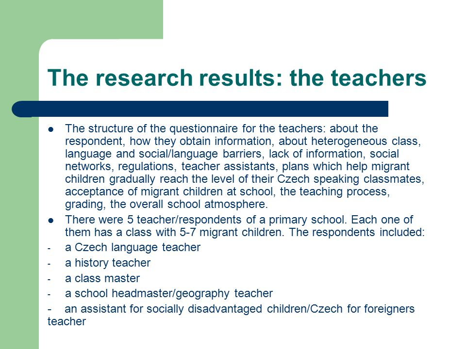 The research results: the teachers