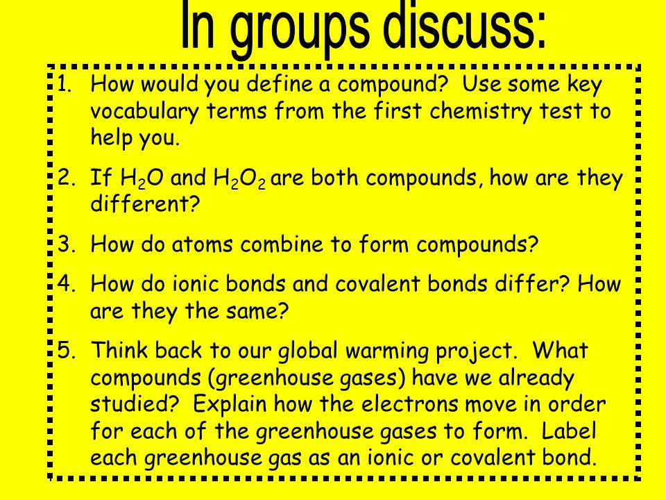 In groups discuss: How would you define a compound Use some key vocabulary terms from the first chemistry test to help you.