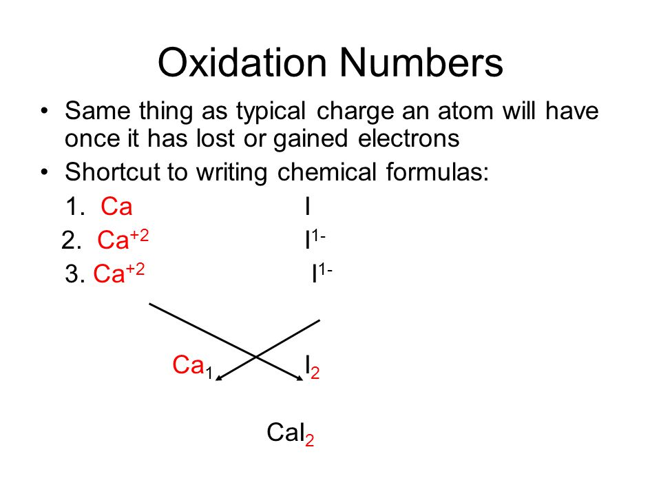 Oxidation Numbers Same thing as typical charge an atom will have once it has lost or gained electrons.
