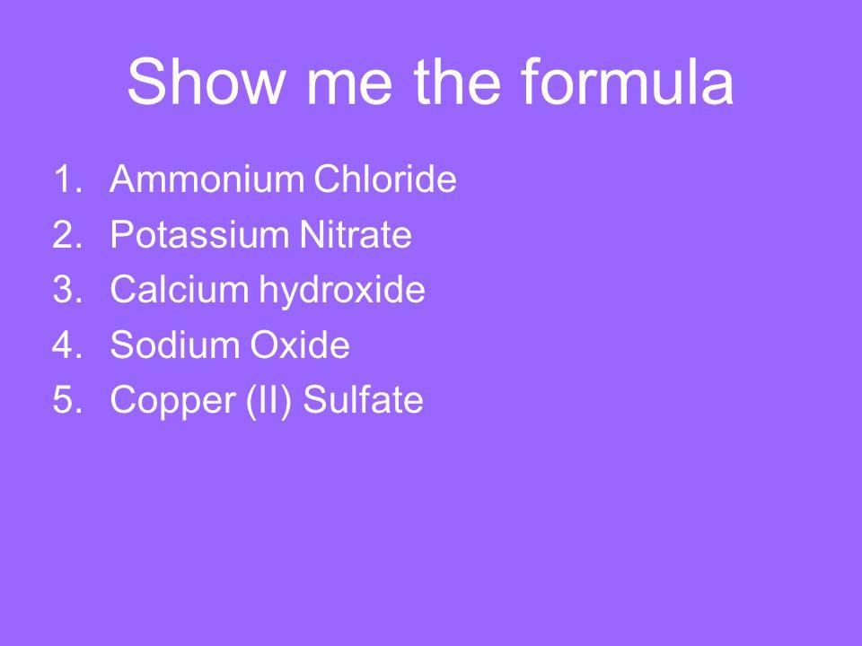 Show me the formula Ammonium Chloride Potassium Nitrate