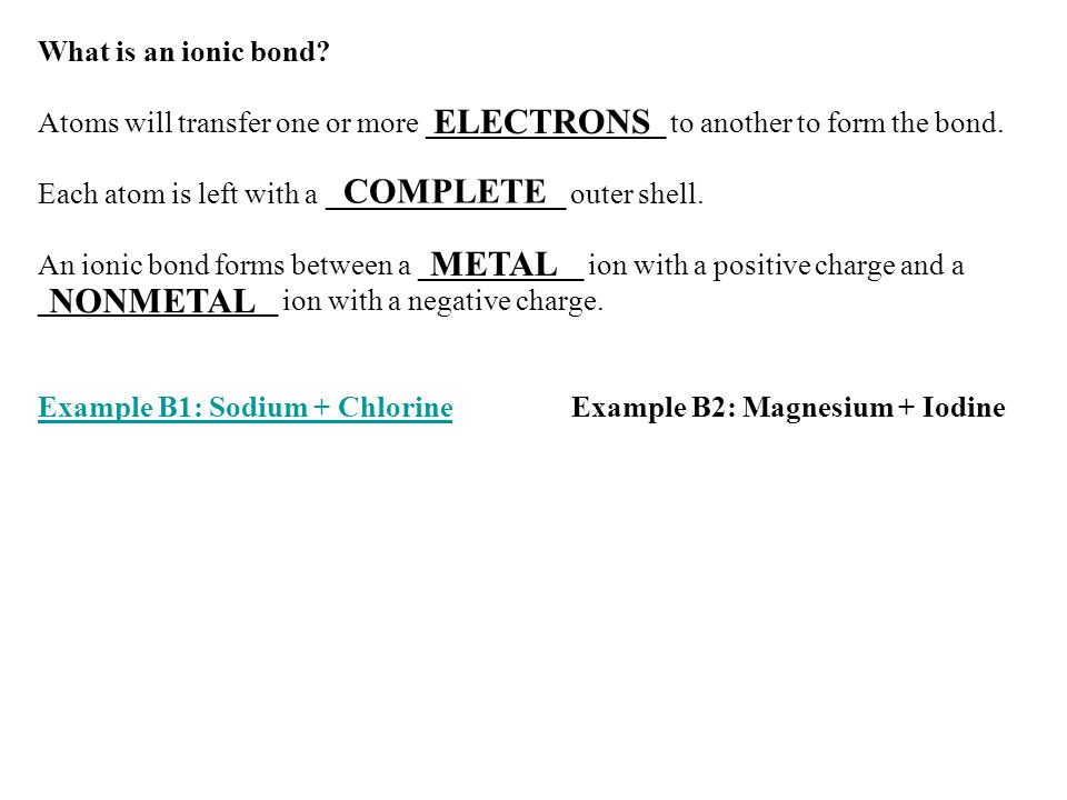 ELECTRONS COMPLETE METAL NONMETAL