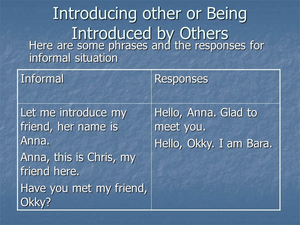 Introducing other or Being Introduced by Others