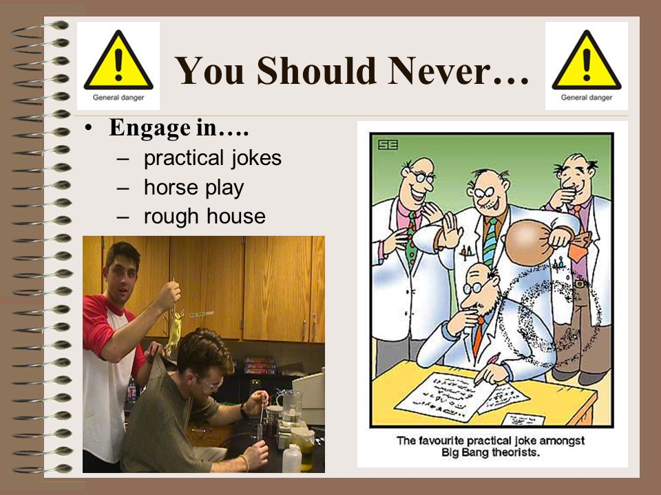 You Should Never… Engage in…. practical jokes horse play rough house