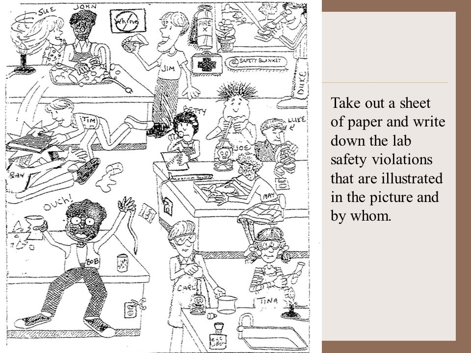 Take out a sheet of paper and write down the lab safety violations that are illustrated in the picture and by whom.