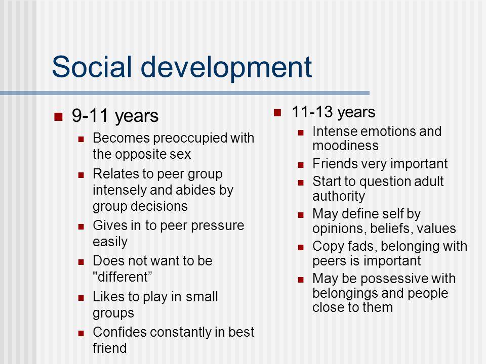 Social development 9-11 years 11-13 years