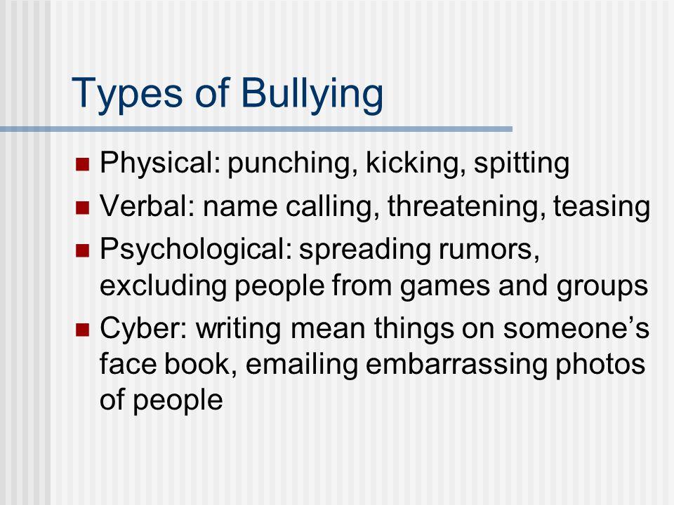 Types of Bullying Physical: punching, kicking, spitting