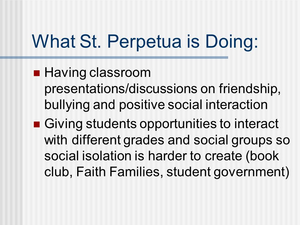 What St. Perpetua is Doing: