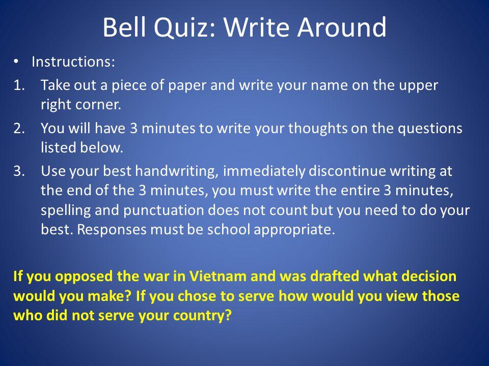 Bell Quiz: Write Around