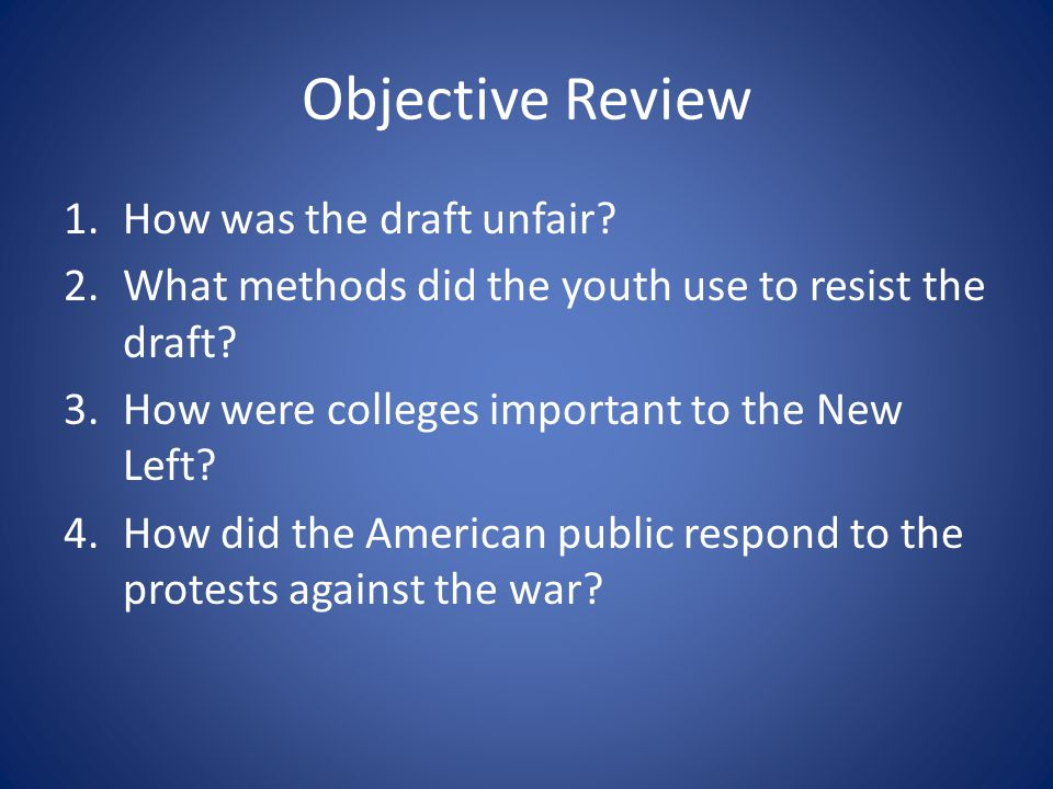 Objective Review How was the draft unfair