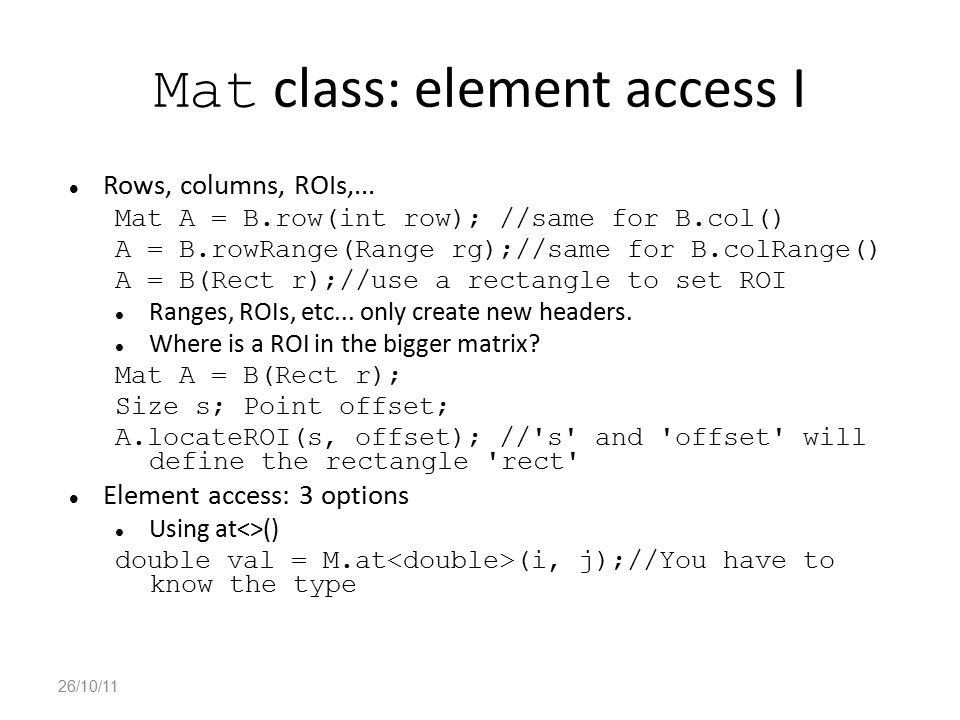 Mat class: element access I