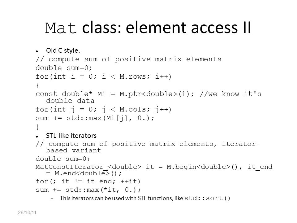 Mat class: element access II