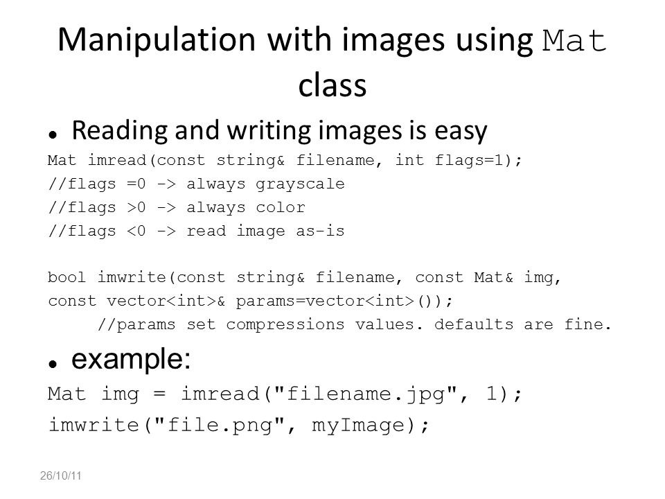 Manipulation with images using Mat class