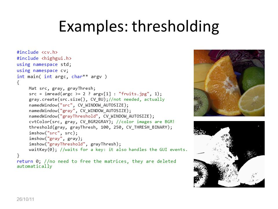 Examples: thresholding
