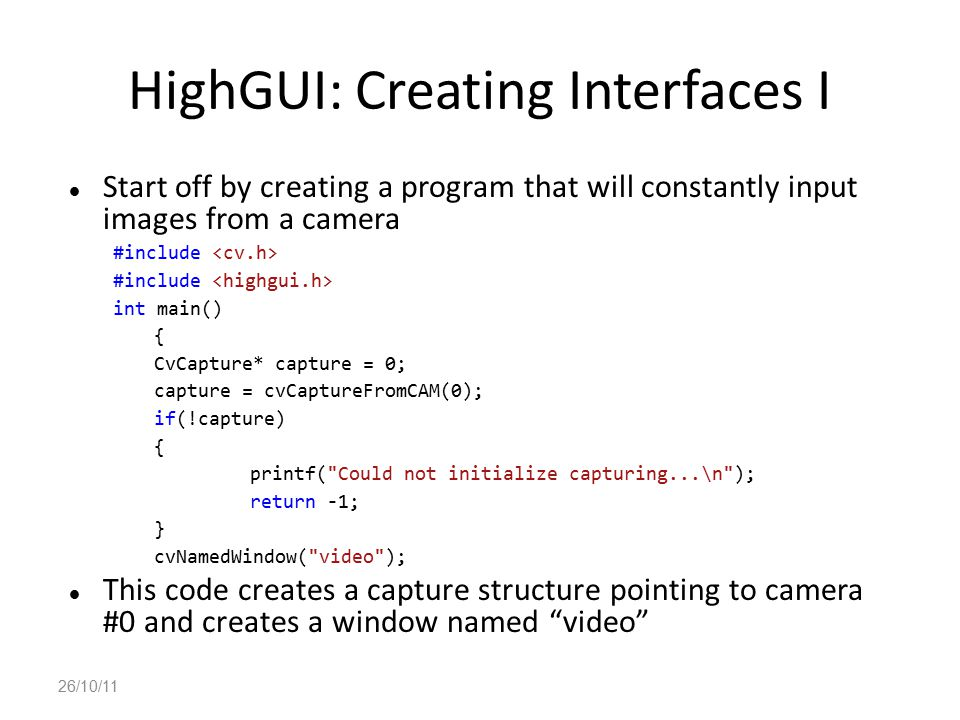 HighGUI: Creating Interfaces I