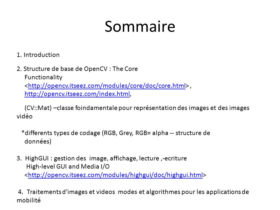 Sommaire 1. Introduction