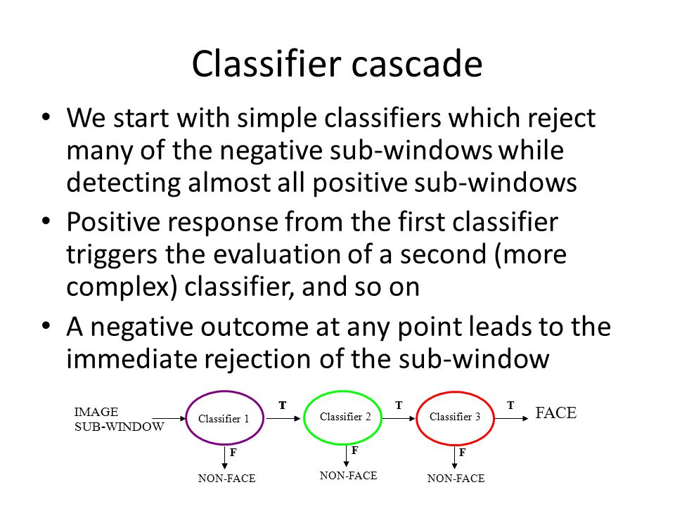 Classifier cascade We start with simple classifiers which reject many of the negative sub-windows while detecting almost all positive sub-windows.