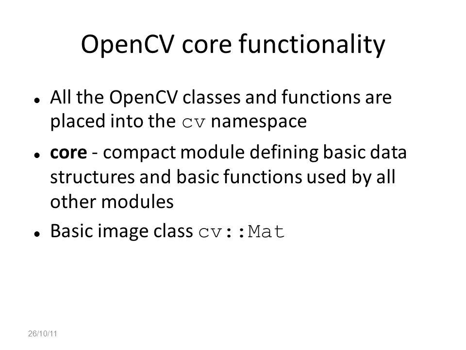 OpenCV core functionality