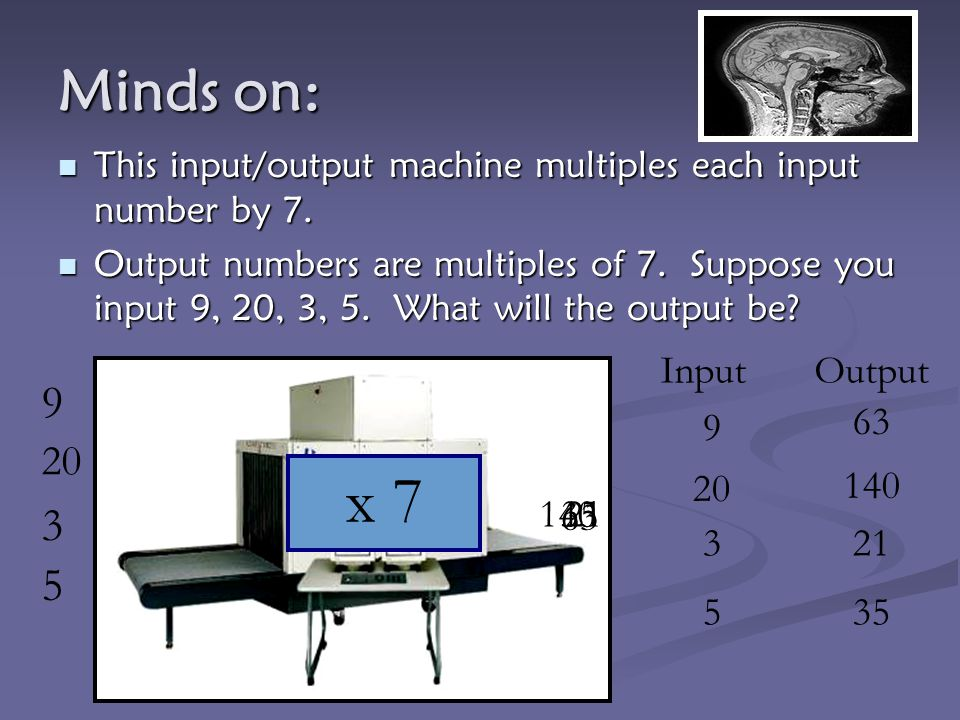 x 7 Minds on: 9 3 5 20 Input Output 63 9 20 140 140 35 21 63 3 21 5 35