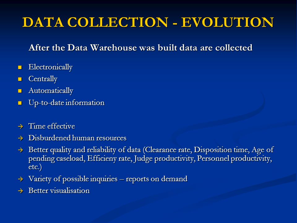 DATA COLLECTION - EVOLUTION