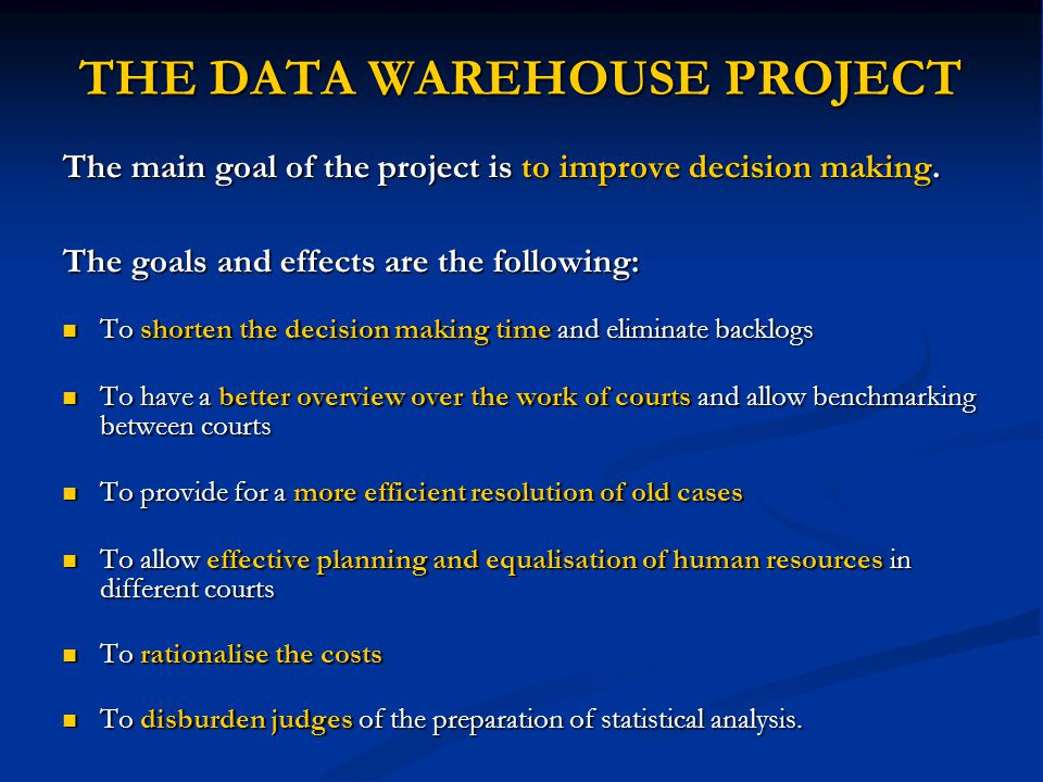 THE DATA WAREHOUSE PROJECT