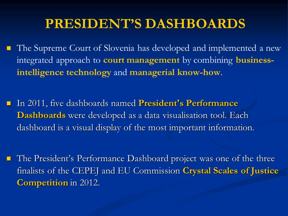 PRESIDENT'S DASHBOARDS